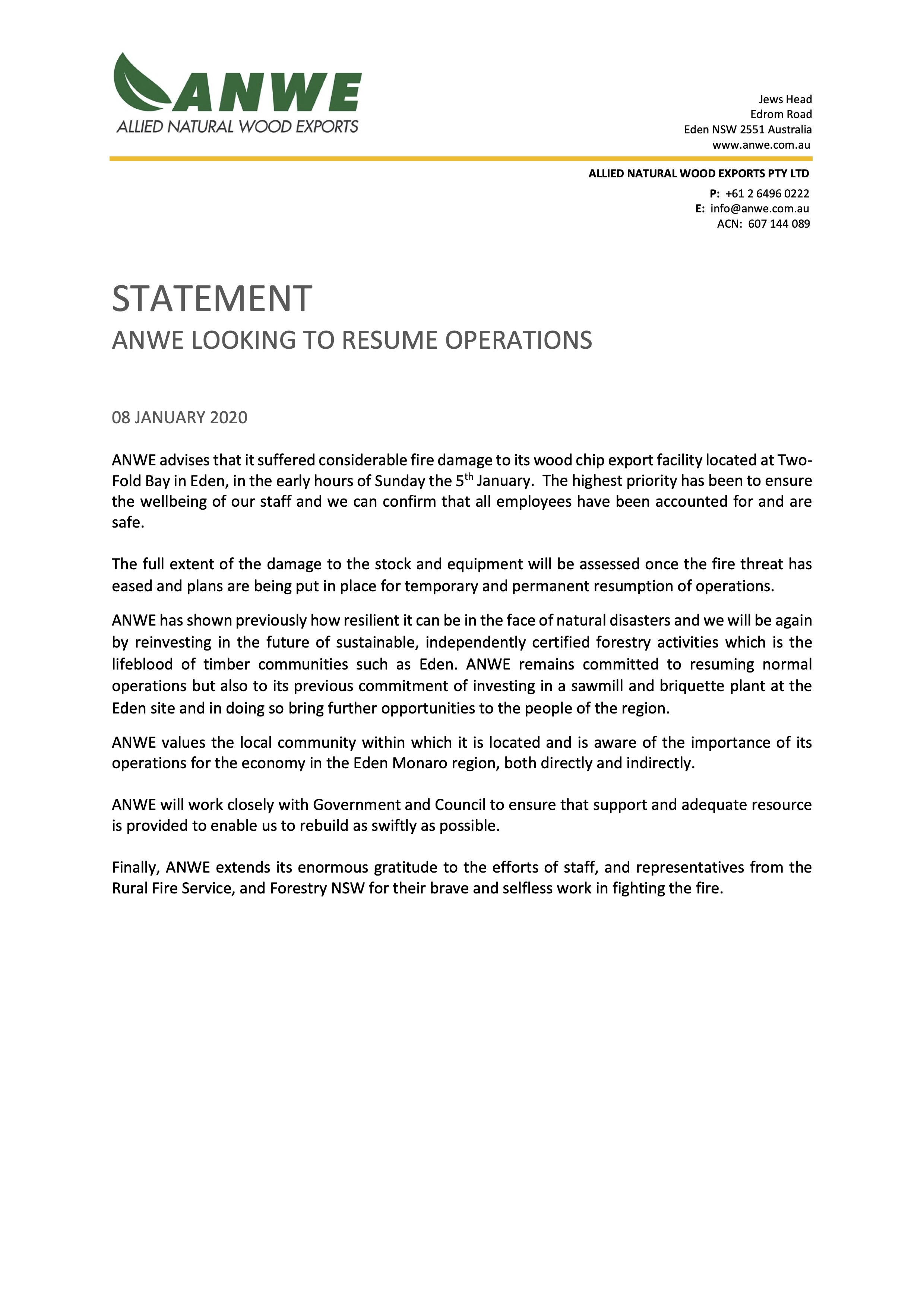 ANWE Fire Statement